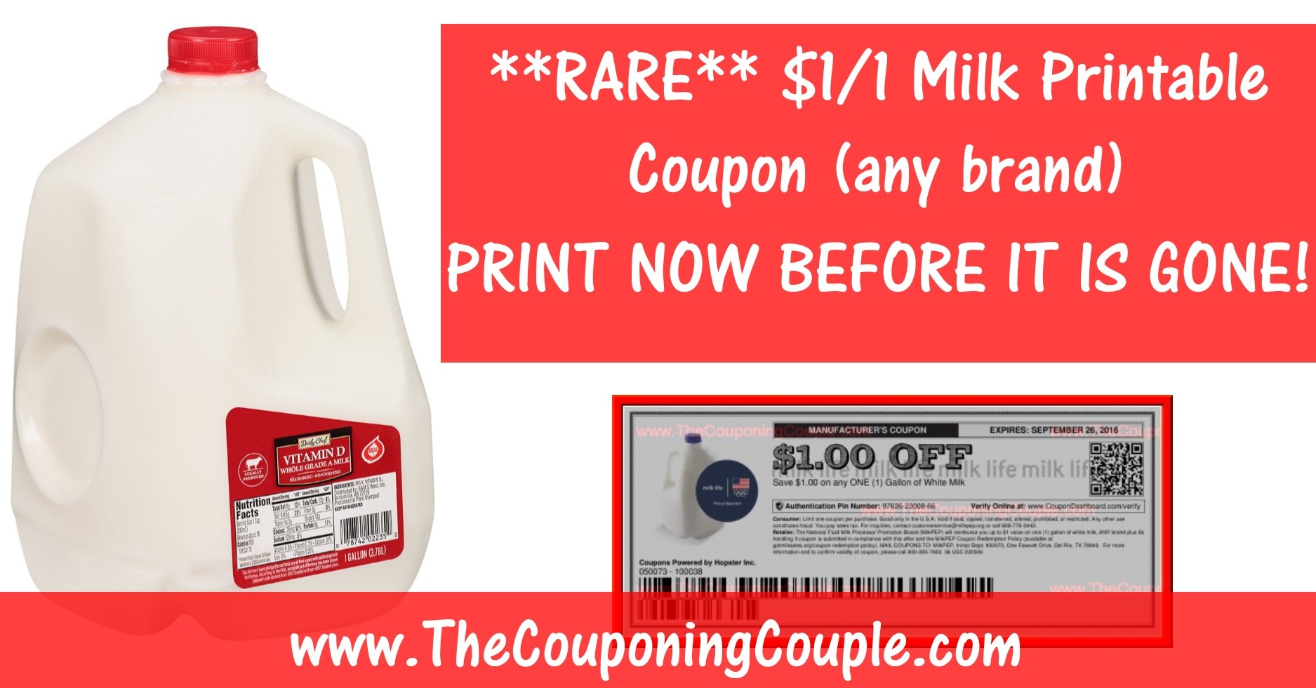 Rare Milk Printable Coupon ~ Save $1.00/1 Gallon Any Brand! - Free Milk Coupons Printable