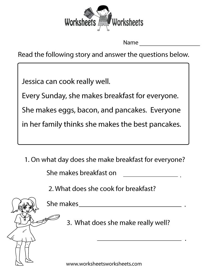 Reading Comprehension Test Worksheet Printable | Reading | Free - Free Printable Groundhog Day Reading Comprehension Worksheets