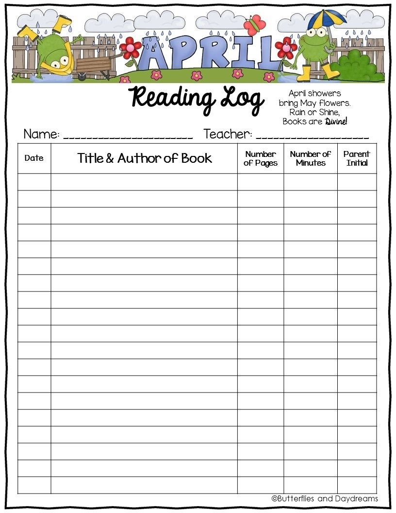 Reading Log {April Showers} | Tpt Free Lessons | Reading Logs - Free Printable Reading Recovery Books
