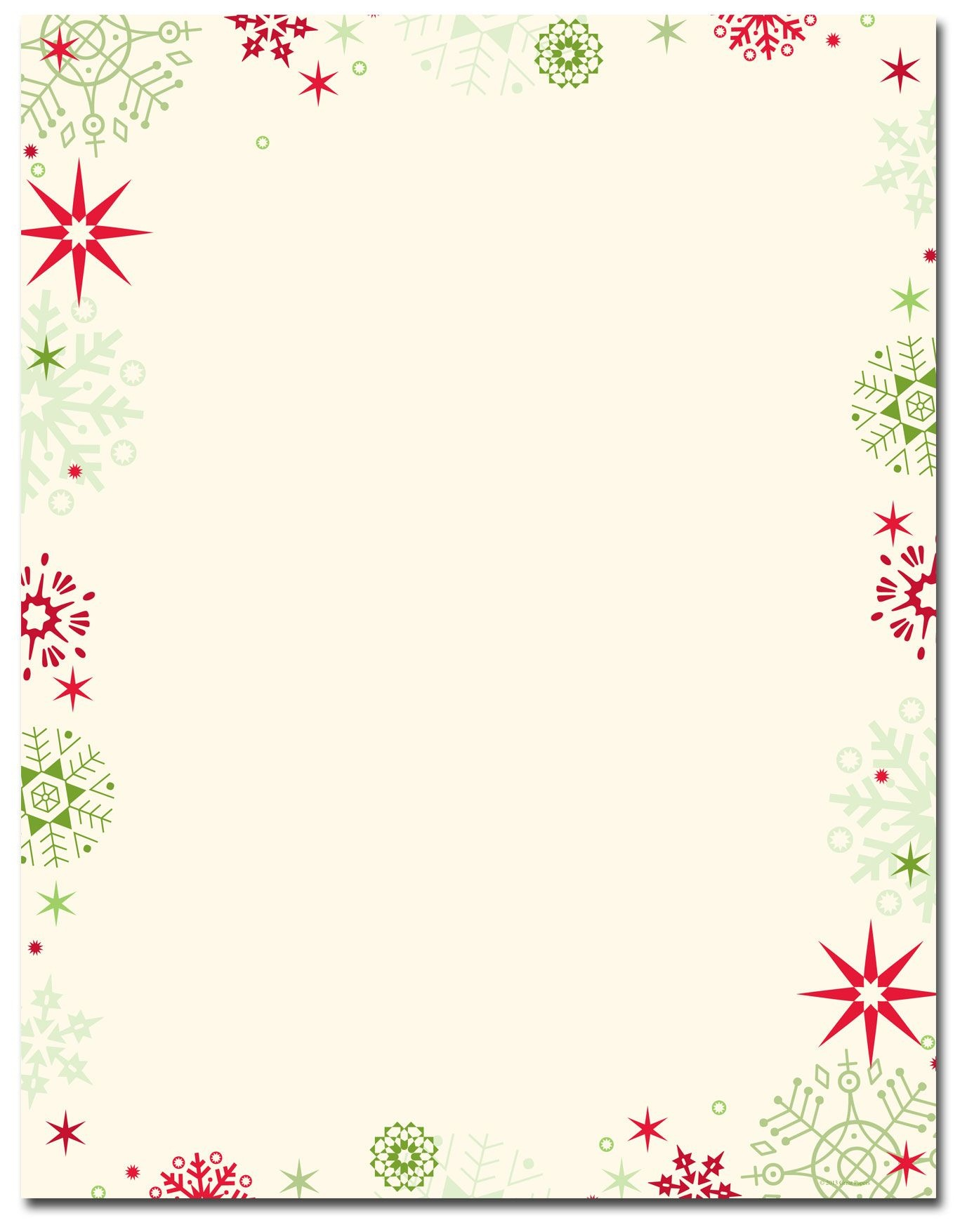 Red & Green Flakes Letterhead | Holiday Papers | Christmas - Free Printable Christmas Letterhead