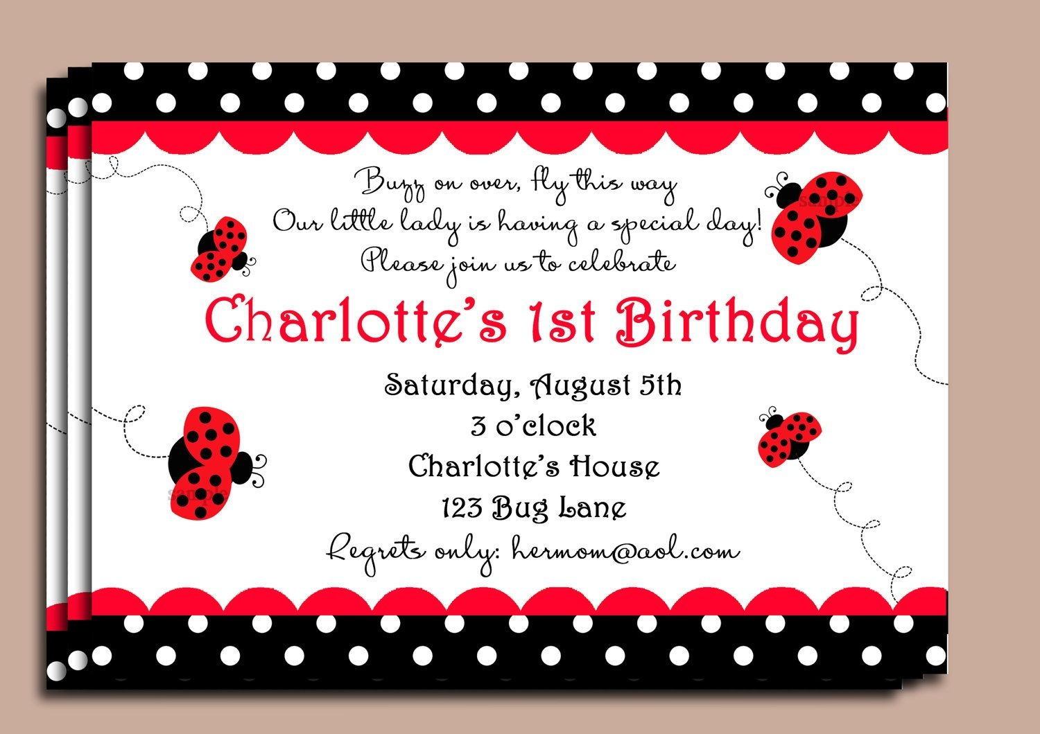Red Ladybug Invitation Or Printed With Free Shipping - Customized - Free Printable Ladybug Invitations