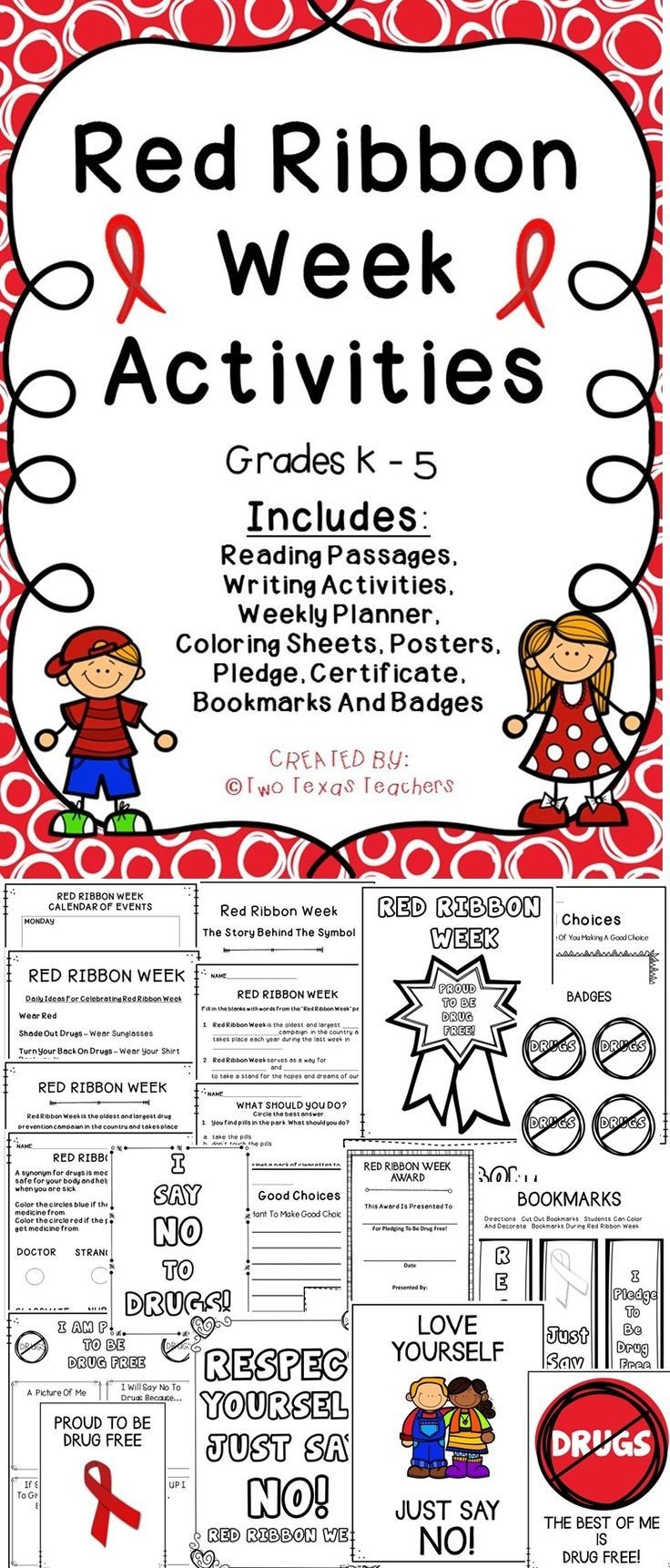 Red Ribbon Week | Best Of Tpt | Red Ribbon Week, Red Ribbon - Free Printable Drug Free Pledge Cards