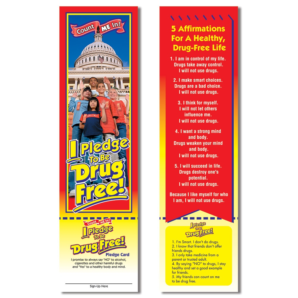 Red Ribbon Week - I Pledge To Be Drug Free! Bookmark - Free Printable Drug Free Pledge Cards