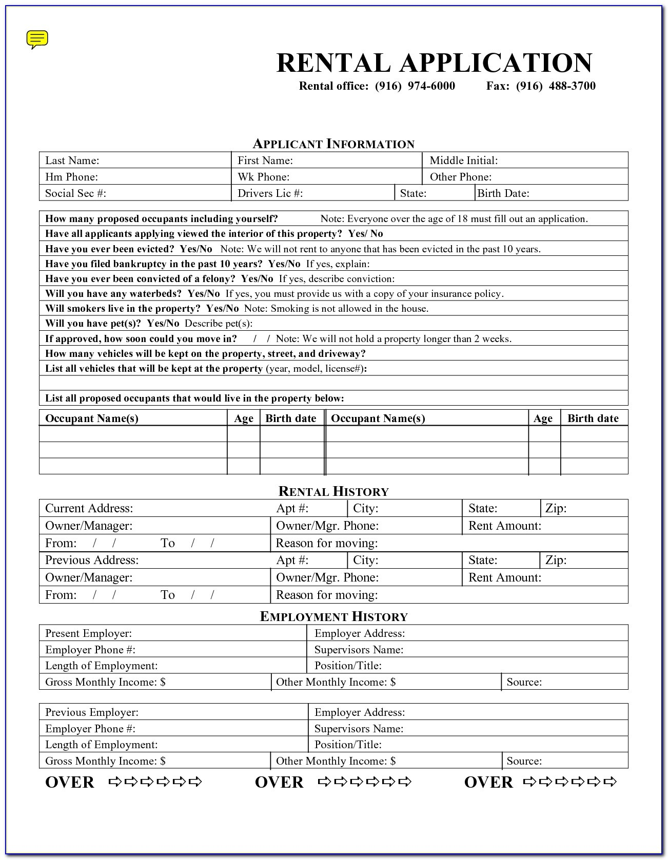 Rental Application Forms Free Printable - Form : Resume Examples - Free Printable Rental Application