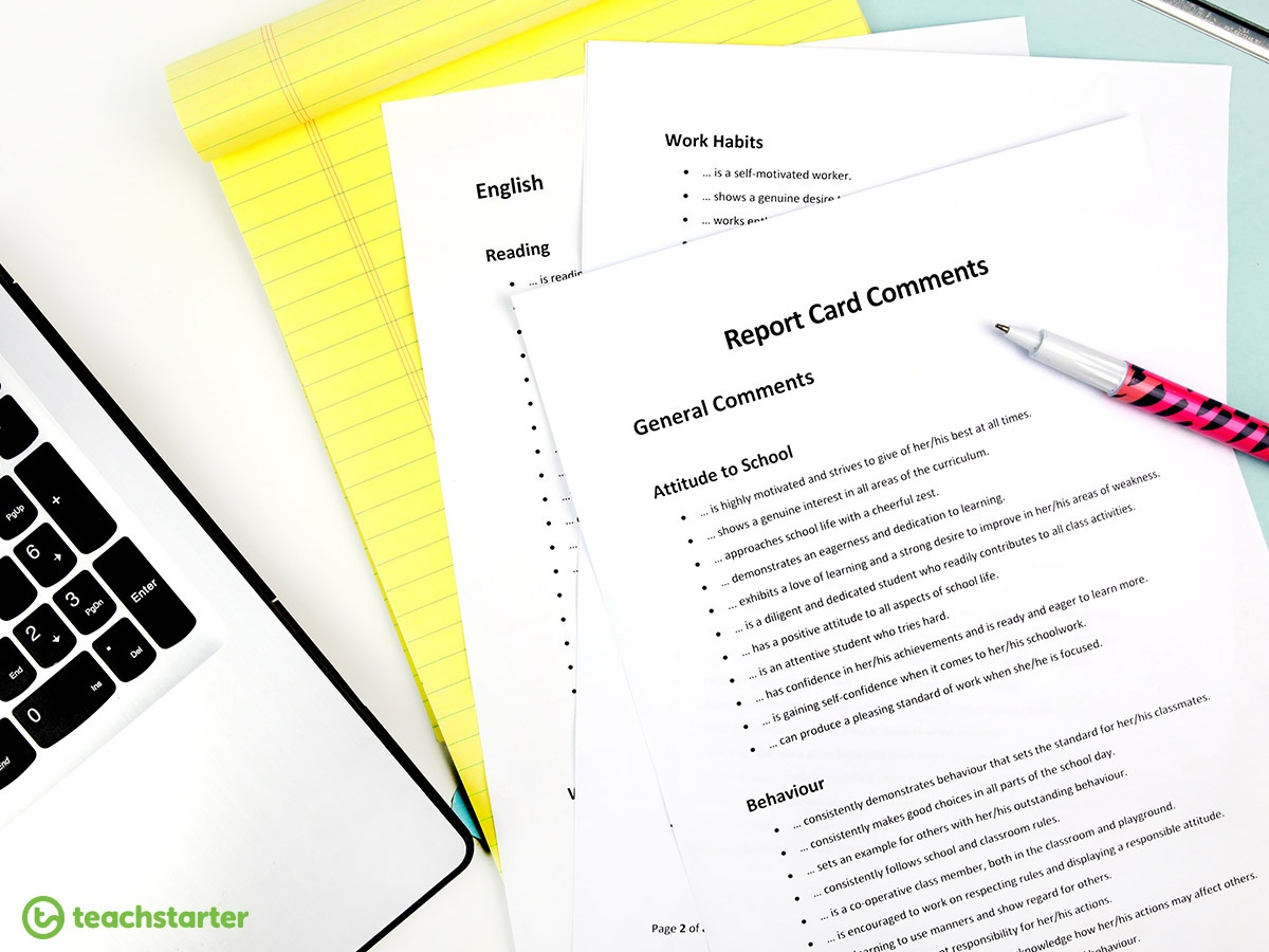 Report Card Comments Teaching Resource | Teach Starter - Free Printable Report Card Comments