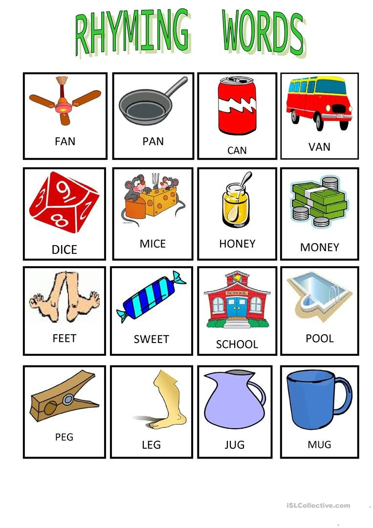 Rhyming Words-1 Worksheet - Free Esl Printable Worksheets Made - Free Printable Rhyming Words