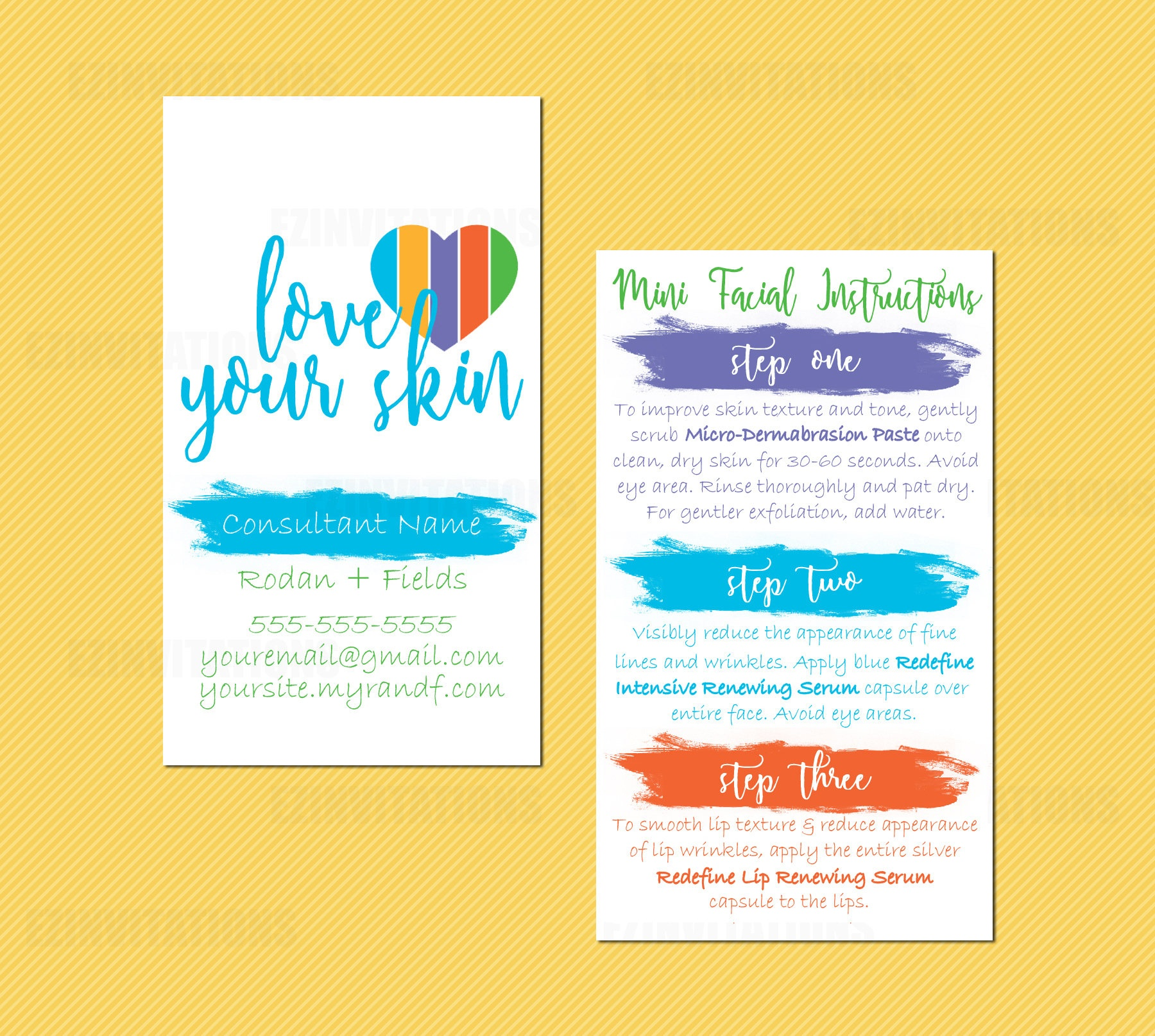 Rodan And Fields Mini Facial Card Rf Mini Facial | Etsy - Rodan And Fields Mini Facial Instructions Printable Free