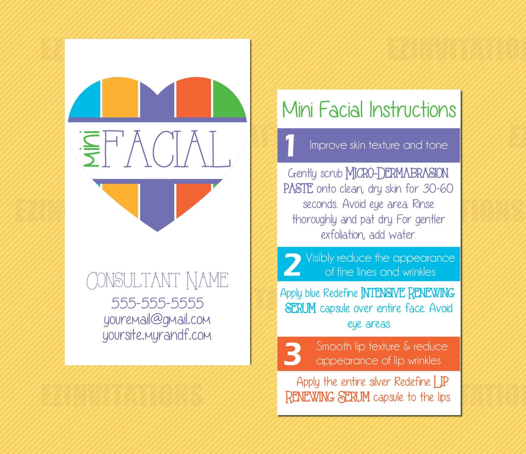 Rodan And Fields Mini Facial Card Rf Mini Facial Heart | Etsy - Rodan And Fields Mini Facial Instructions Printable Free