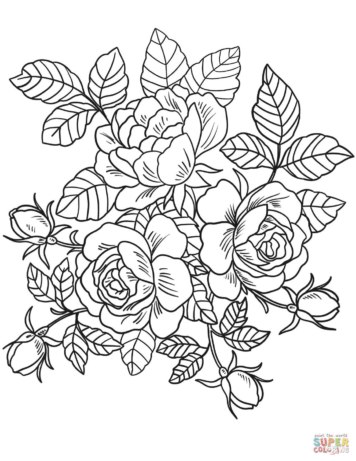 Roses Flowers Coloring Page | Free Printable Coloring Pages - Free Printable Flower Coloring Pages