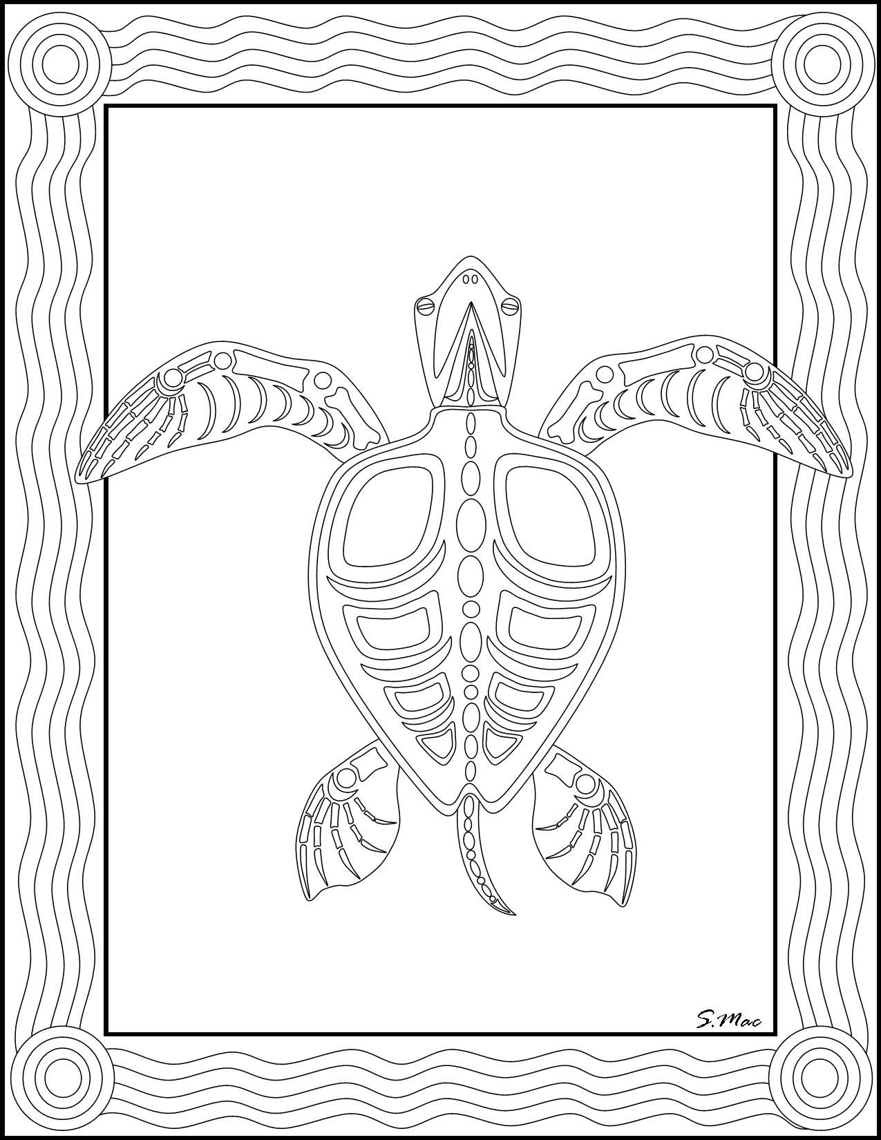 S.mac's Sea Turtle X-Ray Art Coloring Page | Art- Coloring Therapy - Free Printable Aboriginal Colouring Pages