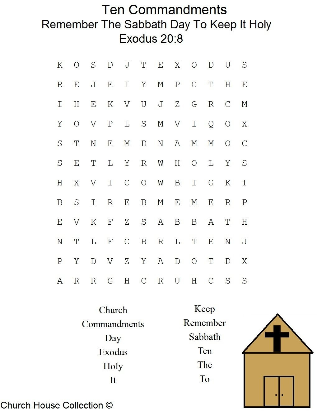 Sabbath Day Word Search | Sunday School | Sabbath Day Holy, Sunday - Free Printable Catholic Word Search