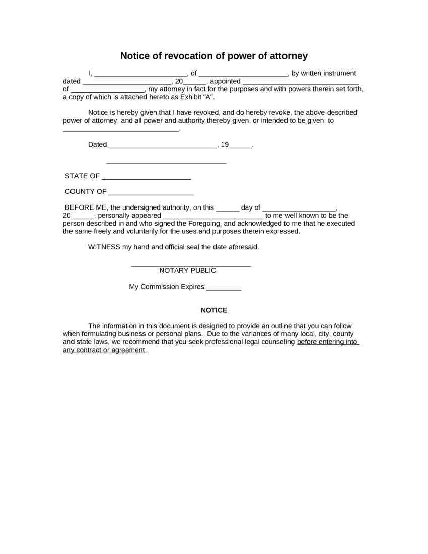 Sample Notice Of Revocation Of Power Of Attorney Form | 8Ws - Free Printable Revocation Of Power Of Attorney Form