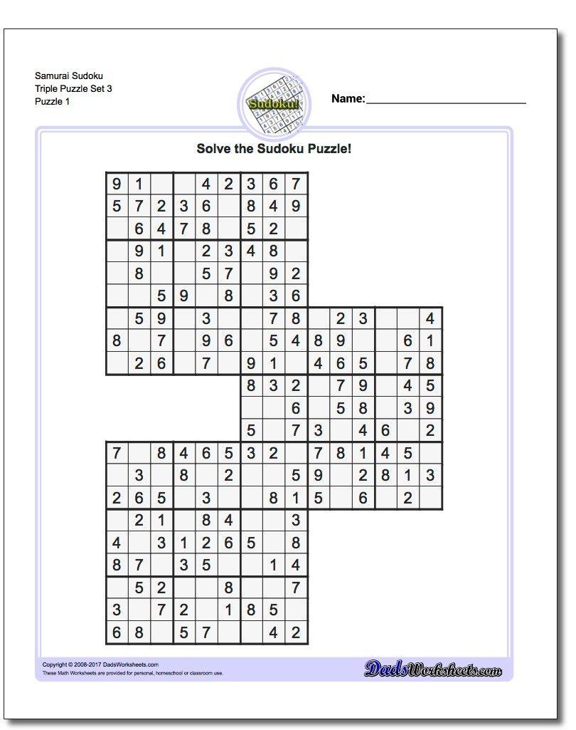 Samurai Sudoku Triples   Math Worksheets   Sudoku Puzzles, Puzzle - Free Printable Samurai Sudoku