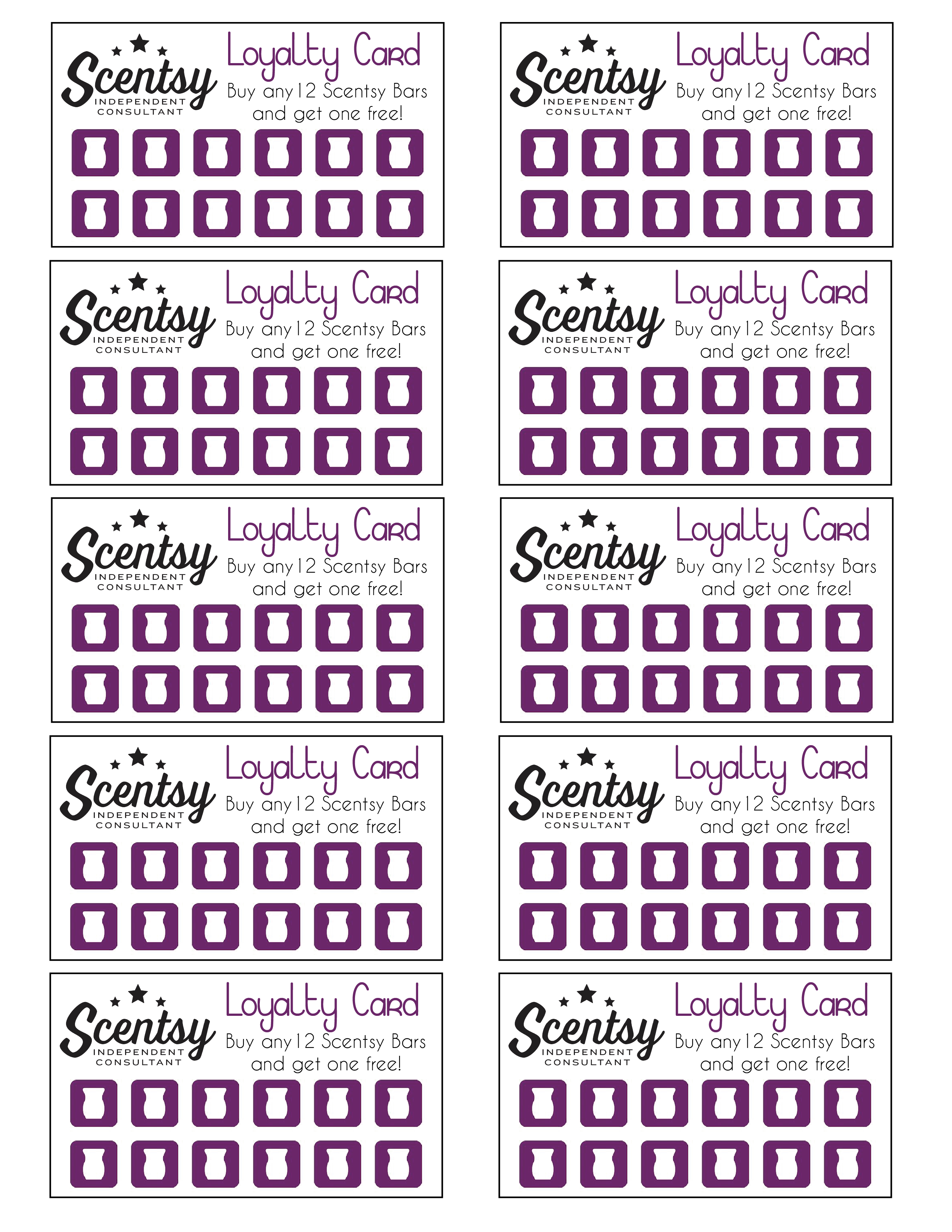 Scentsy Loyalty Card … | Scentsy In 2019… - Free Printable Loyalty Card Template