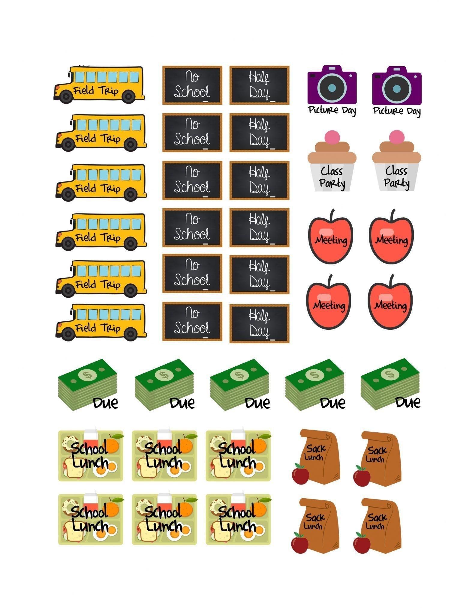School Planner Stickers {Free Printable} | Planner Free Prints - Free Printable Stickers For Teachers