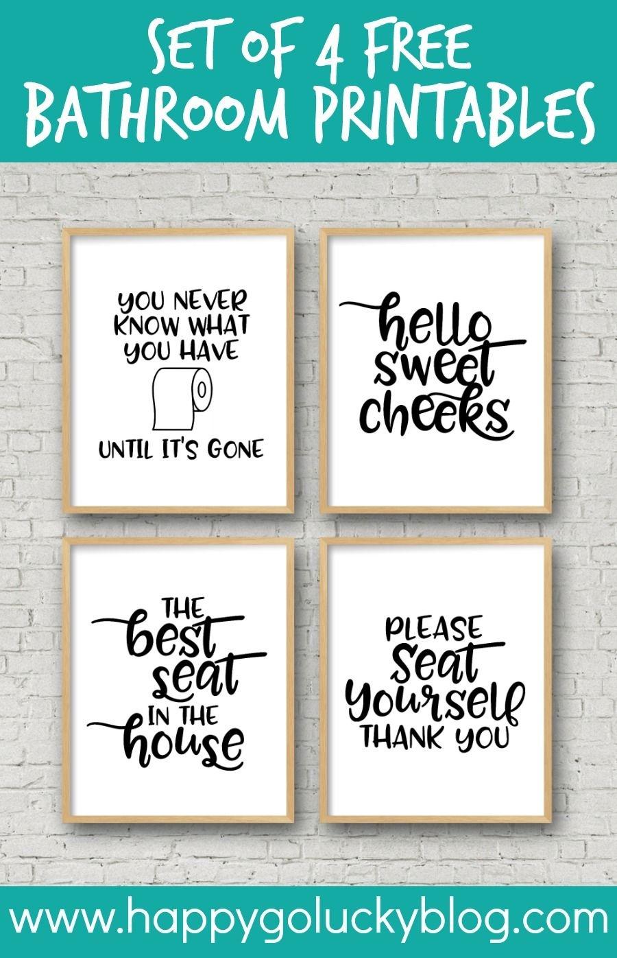 Set Of 4 Printable Bathroom Signs   Crafts-Printables   Funny - Free Printable Bathroom Signs