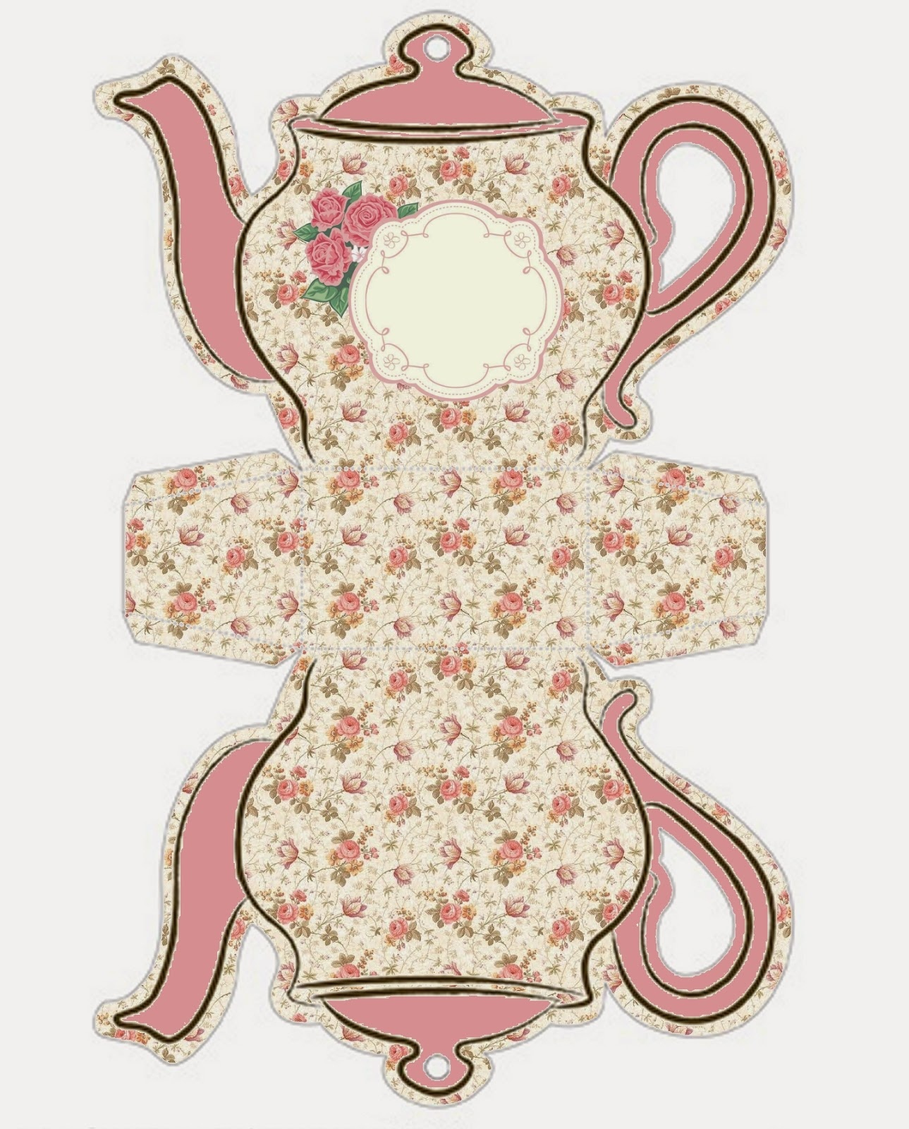 Shabby Chic Teapot Free Printable Boxes. - Oh My Fiesta! In English - Free Teapot Printable