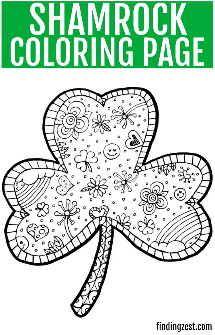 Shamrock Coloring Page Free Printable - Finding Zest - Free Printable Shamrocks