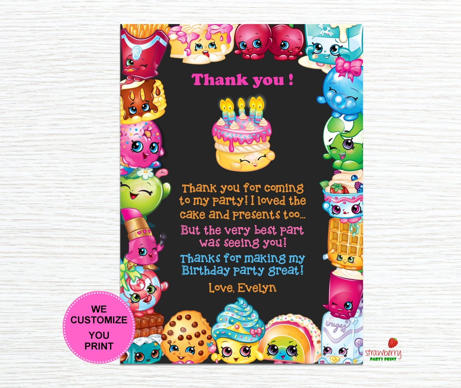 Shopkins Thank You Cards Shopkins Birthday Thank You Notes | Etsy - Free Printable Shopkins Thank You Cards