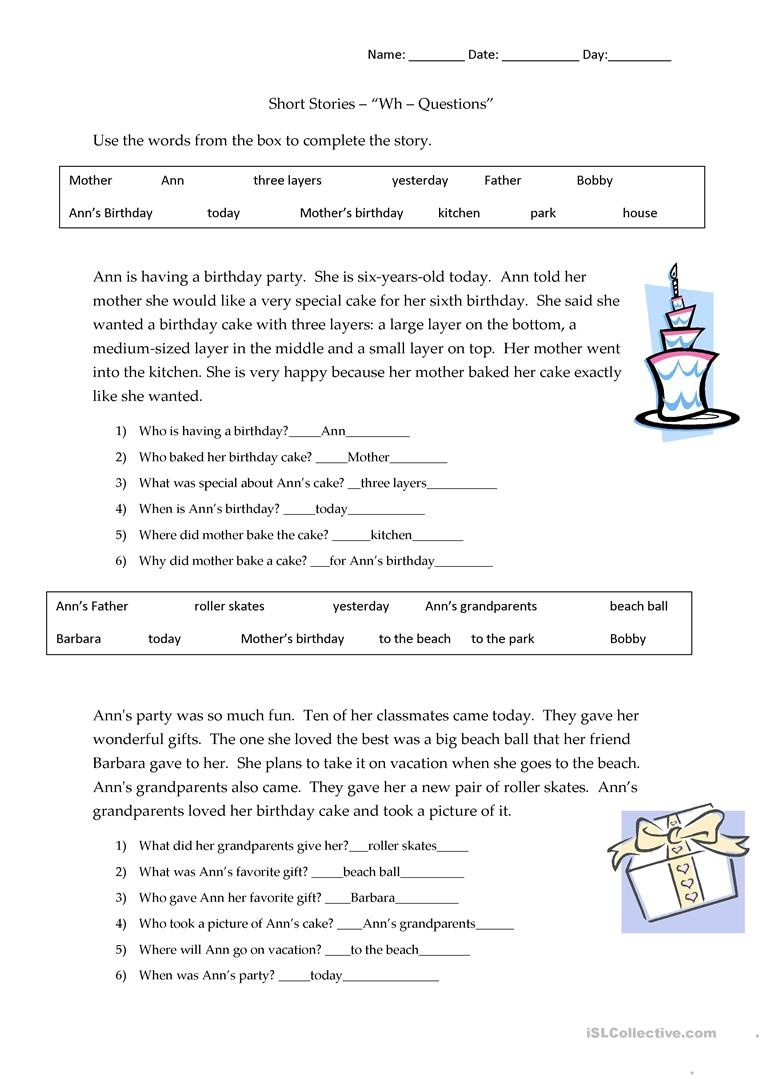 Short Stories Wh-Questions - Answers Worksheet - Free Esl Printable - Free Printable Short Stories For 2Nd Graders