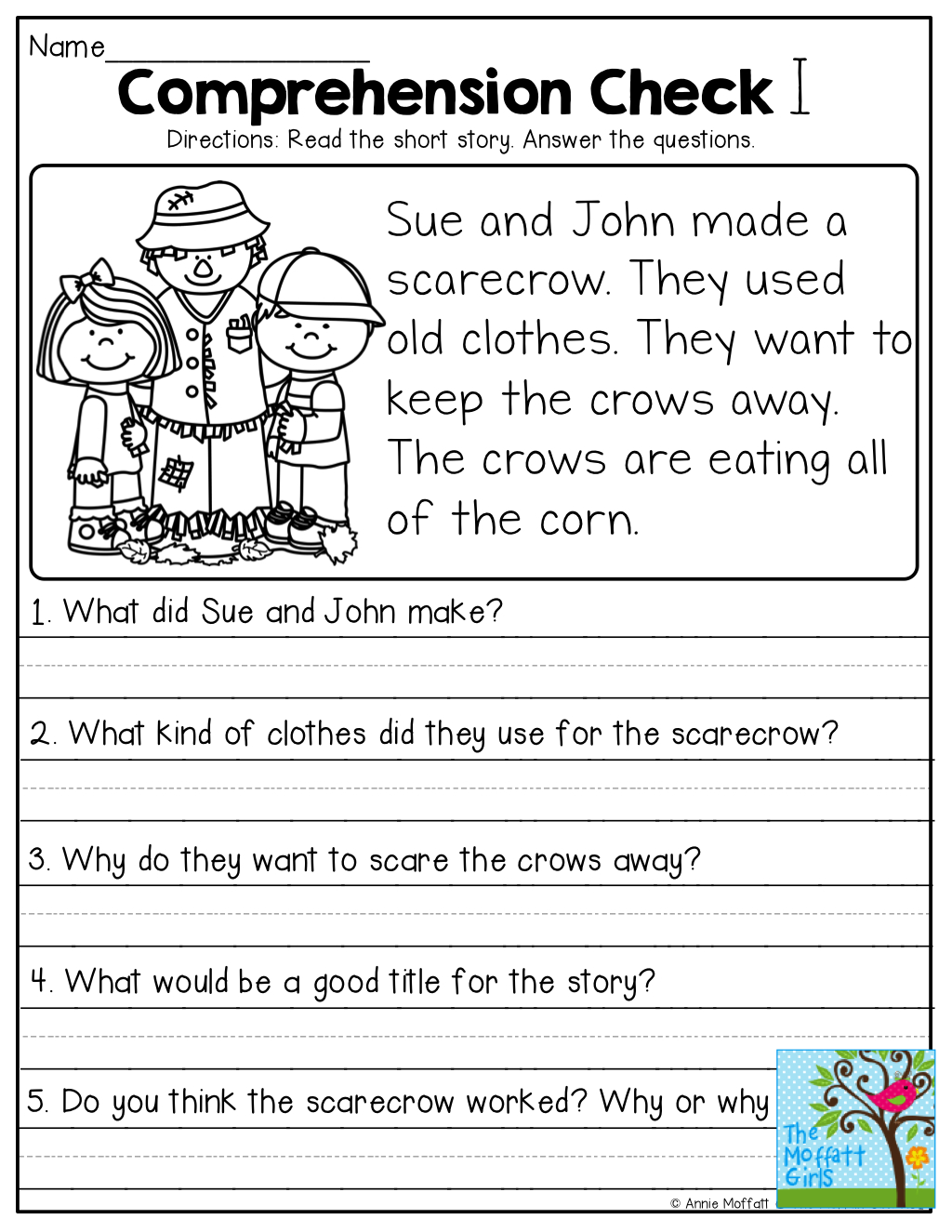 Short Stories With Comprehension Questions! | Jassiah | First Grade - Free Printable Short Stories For Grade 3