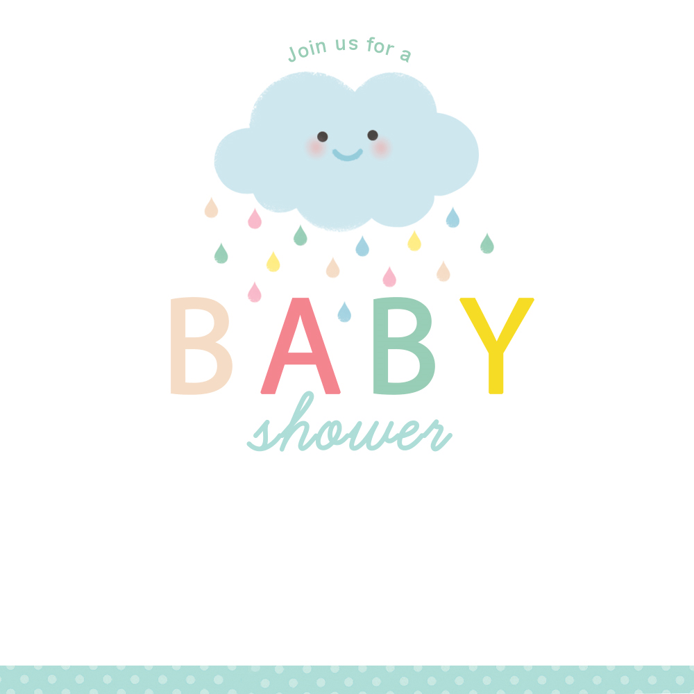 Shower Cloud - Free Printable Baby Shower Invitation Template - Free Printable Baby Shower Clip Art