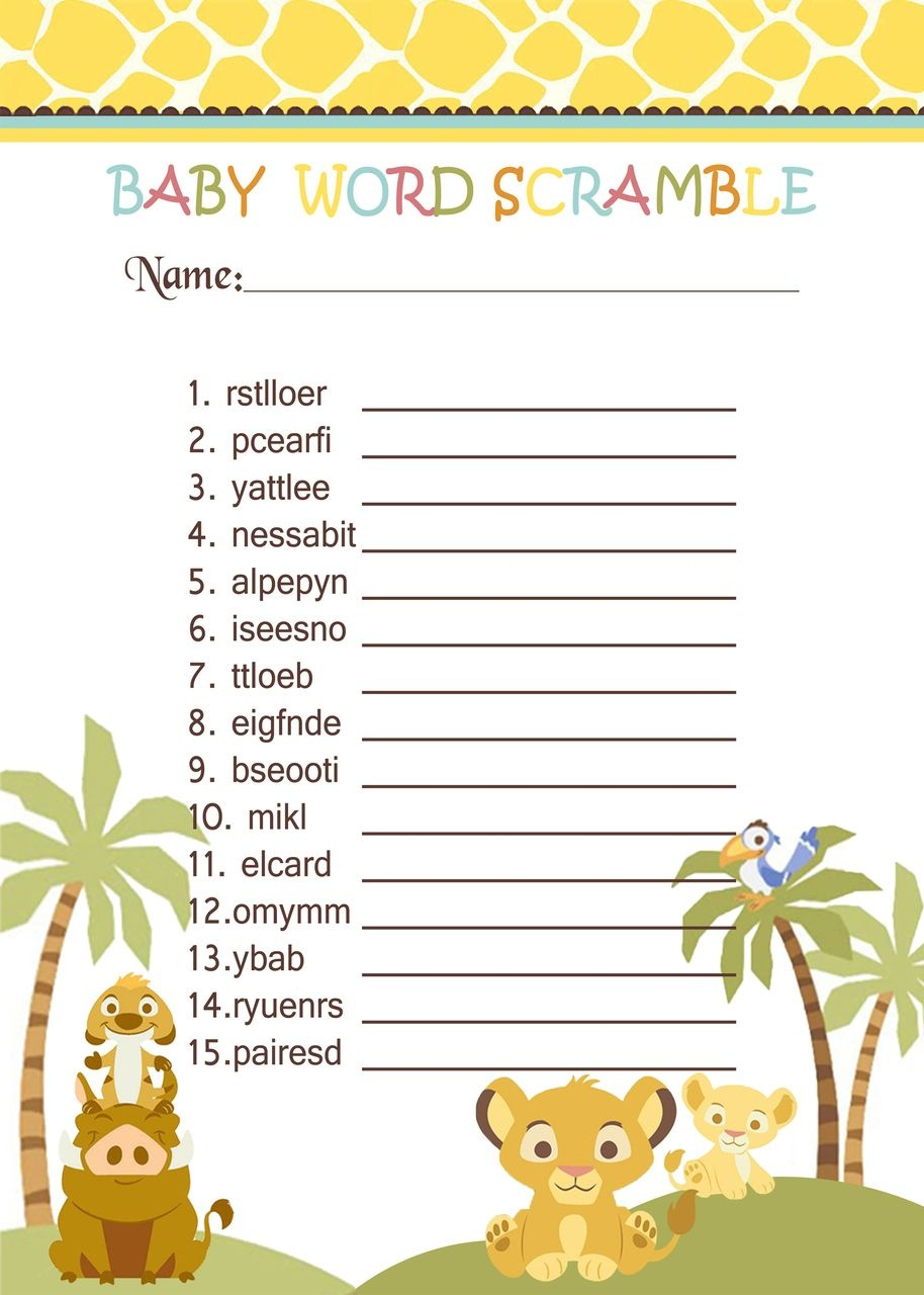 Simba Lion King Baby Shower Games - Word Scramble In 2019 | Jungle - Free Printable Lion King Baby Shower Invitations