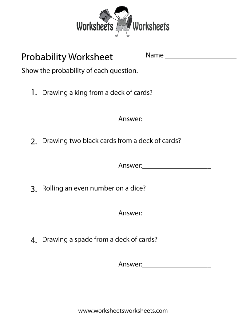 Simple Probability Worksheet - Free Printable Educational Worksheet - Free Printable Probability Worksheets 4Th Grade