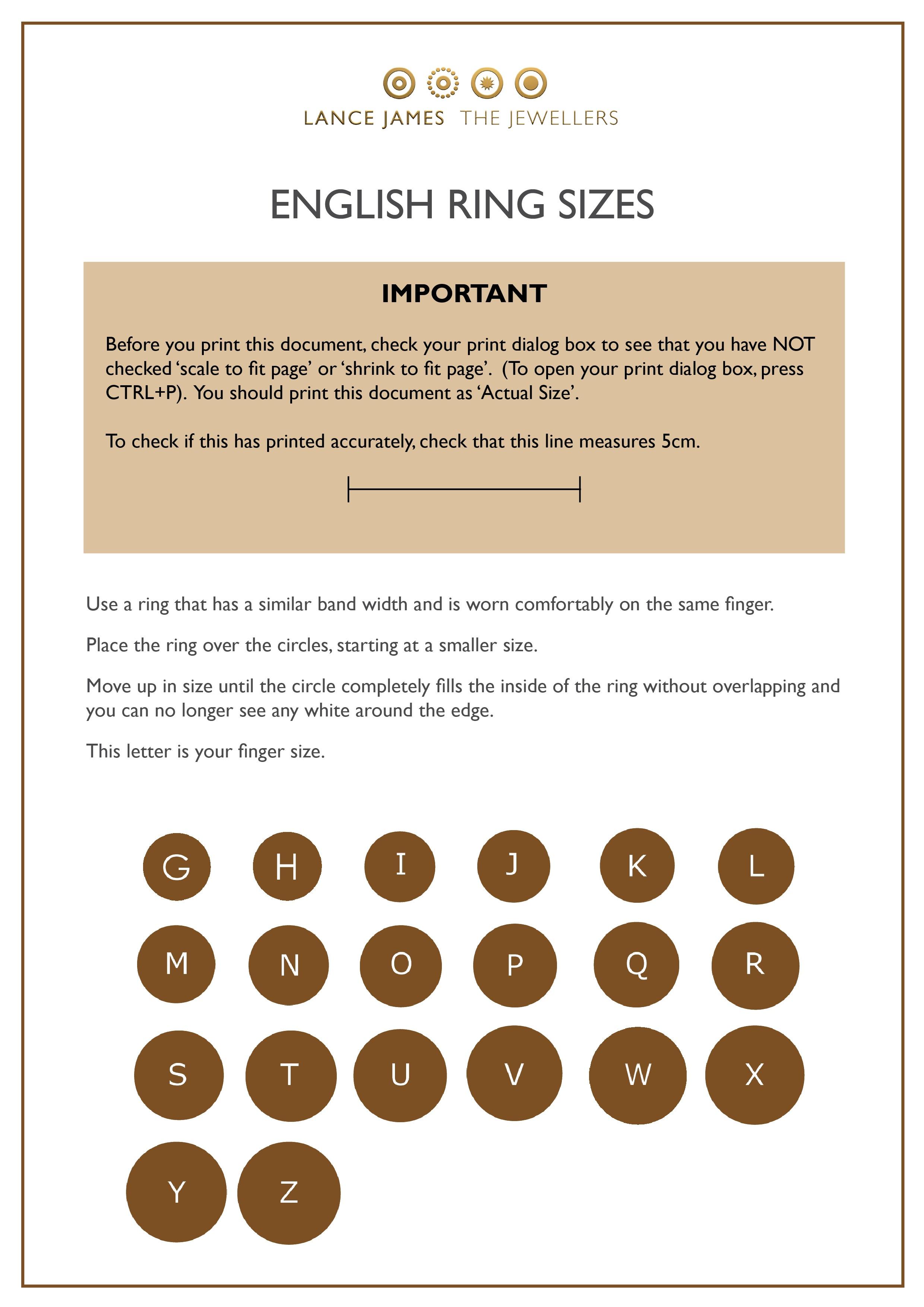 Size Guide - Free Printable Ring Sizer Uk