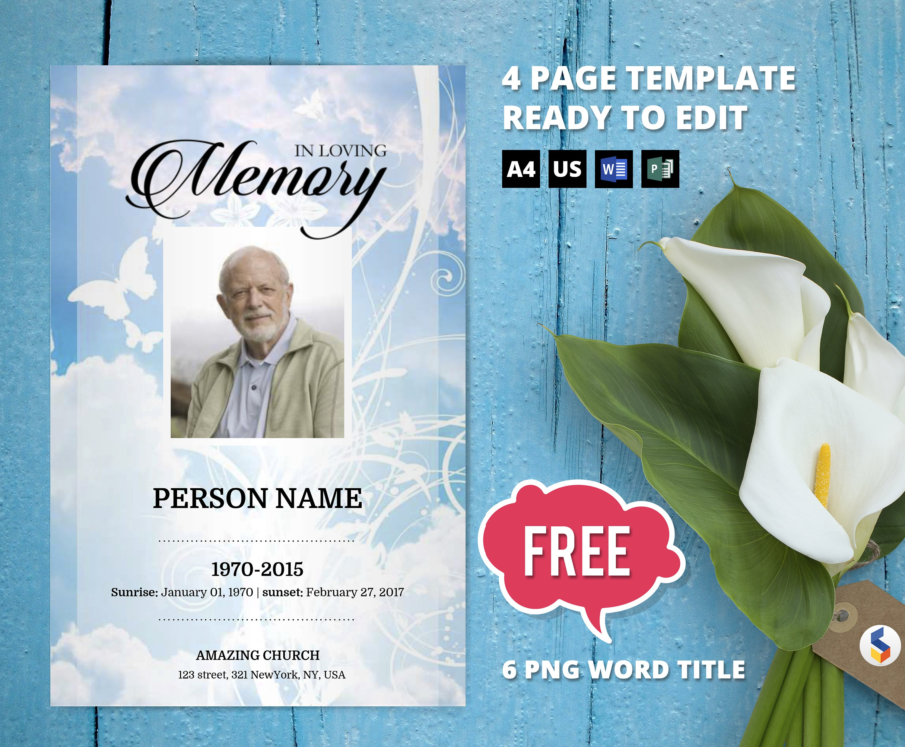 Sky And Butterfly Funeral Program Template Obituary | Etsy - Free Printable Funeral Program Template