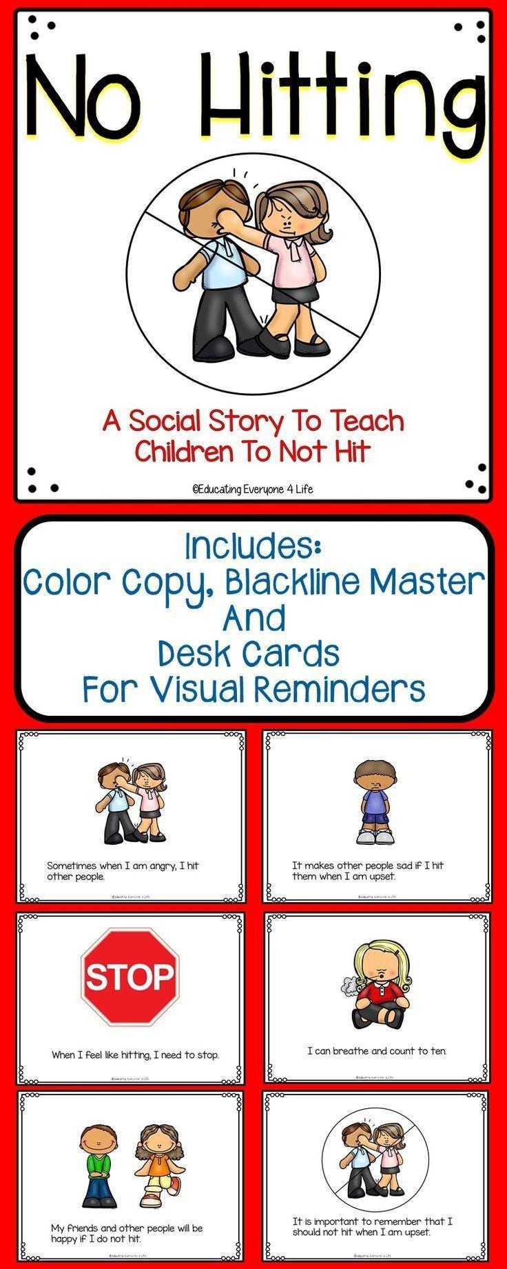 Social Story For Children - No Hitting   Elementary Behavior - Free Printable Social Stories For Kids