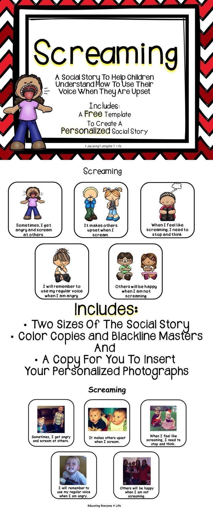 Social Story - Screaming   Autism   Social Stories, Social Emotional - Free Printable Social Stories For Kids