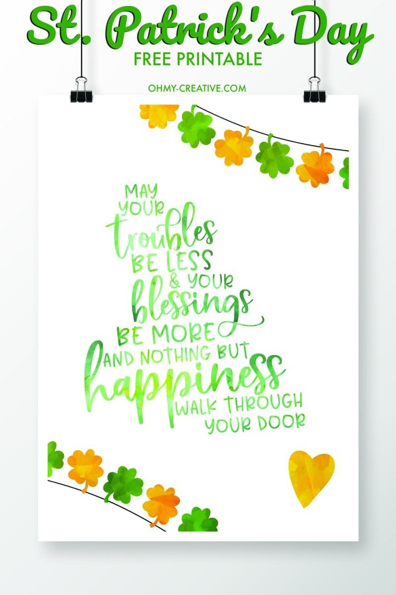St. Patrick's Day Sayings Free Printables | Printables | St - Free Printable St Patrick's Day Banner