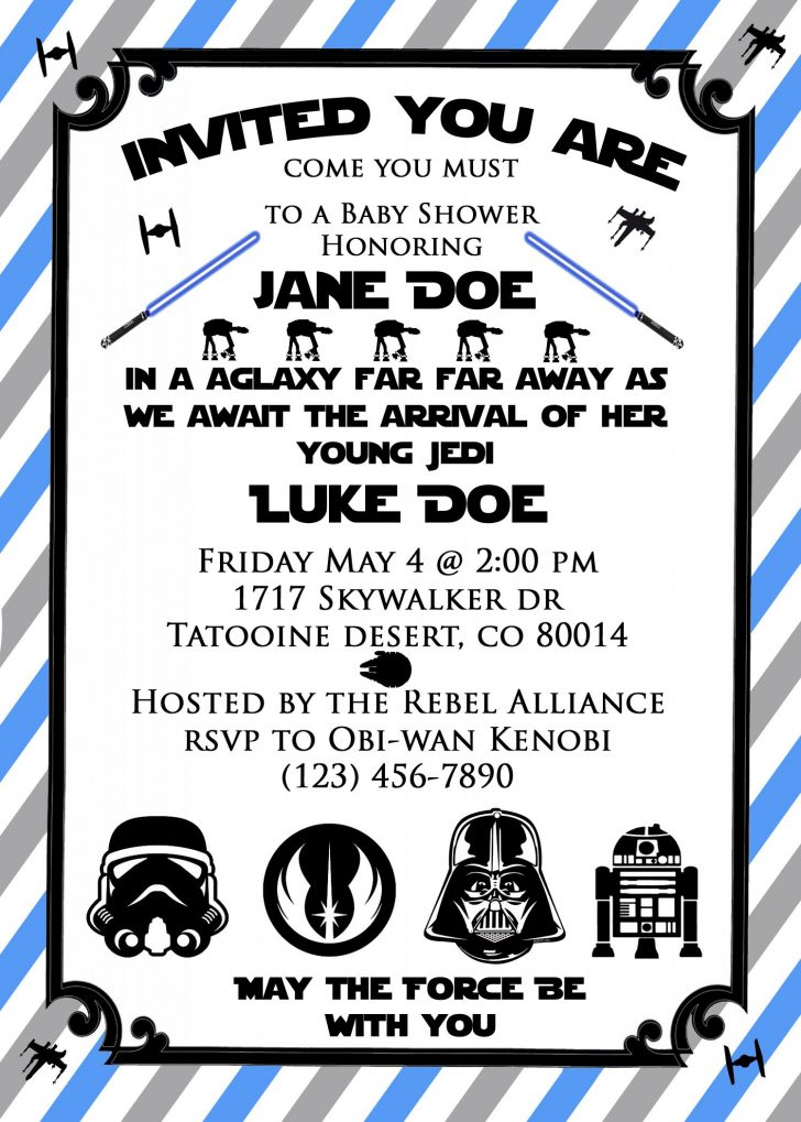 Free Printable Star Wars Baby Shower Invites
