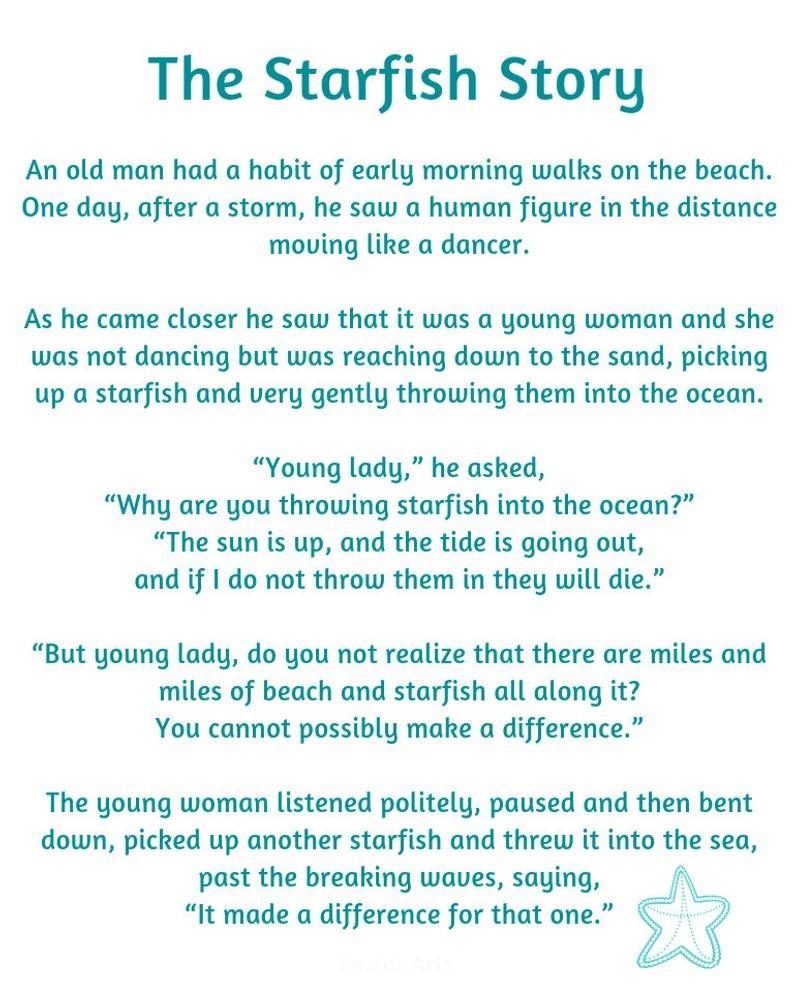 Starfish Poem Printable - Masterprintable - Starfish Story Printable Free