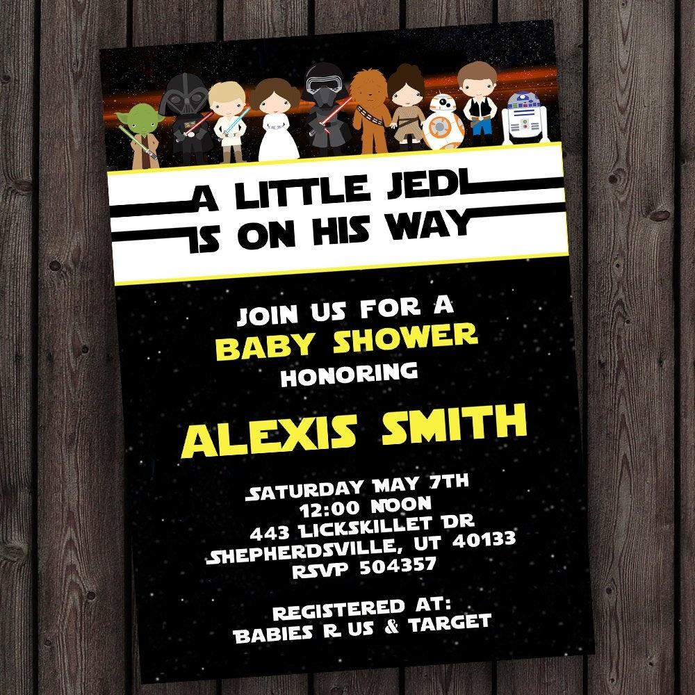 Starwars Baby Shower Invitation Star Wars Customized Wording | Etsy - Free Printable Star Wars Baby Shower Invites