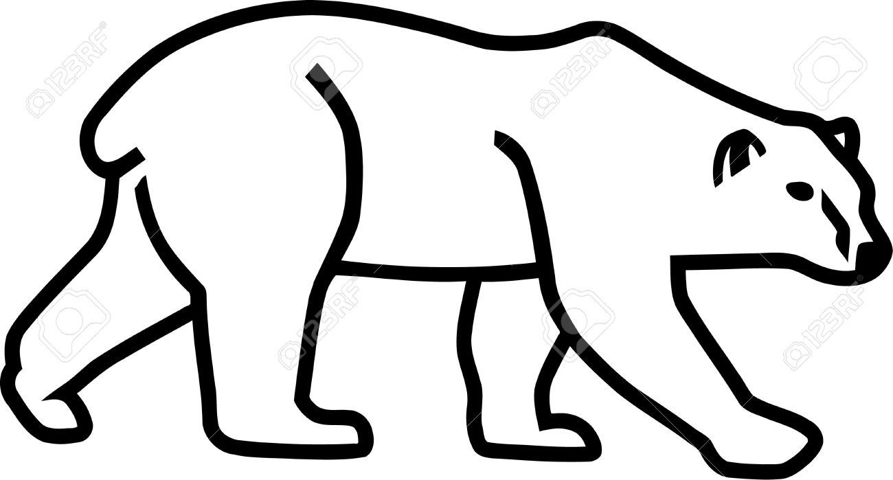 Stock Vector | Sewing Projects ! | Bear Silhouette, Polar Bear - Free Printable Arty Animal Outlines