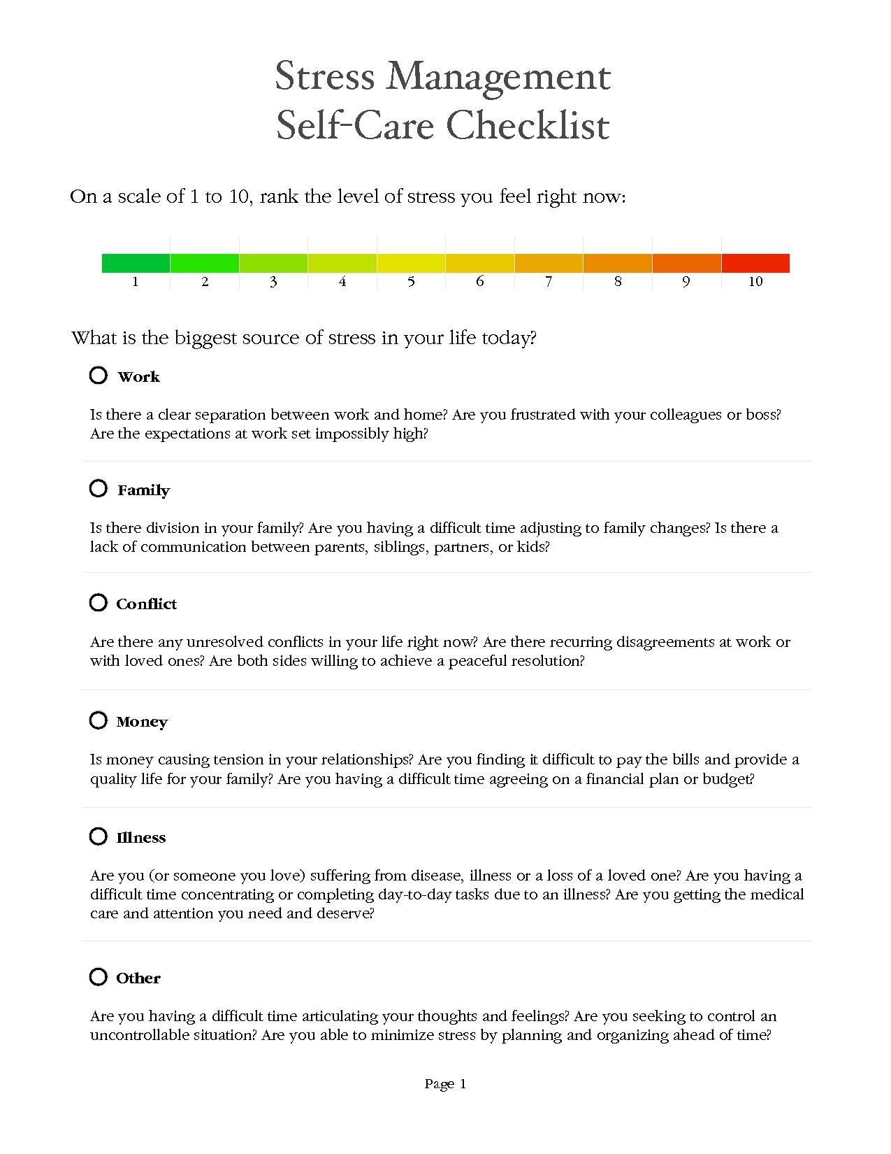 Stress Management Worksheets | Stress Management Worksheet - Pdf - Free Printable Coping Skills Worksheets