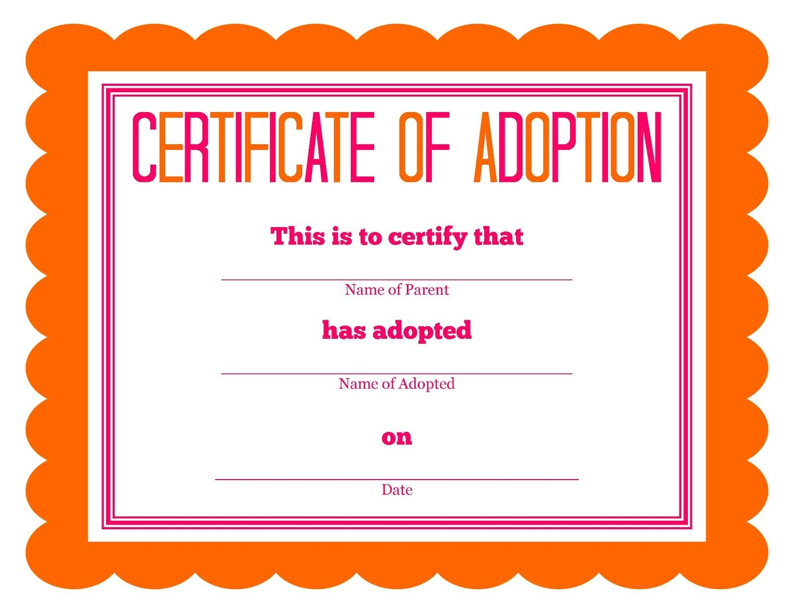 Stuffed Animal Adoption Party Detail-Oriented Diva! | Party: Kids - Free Printable Adoption Certificate