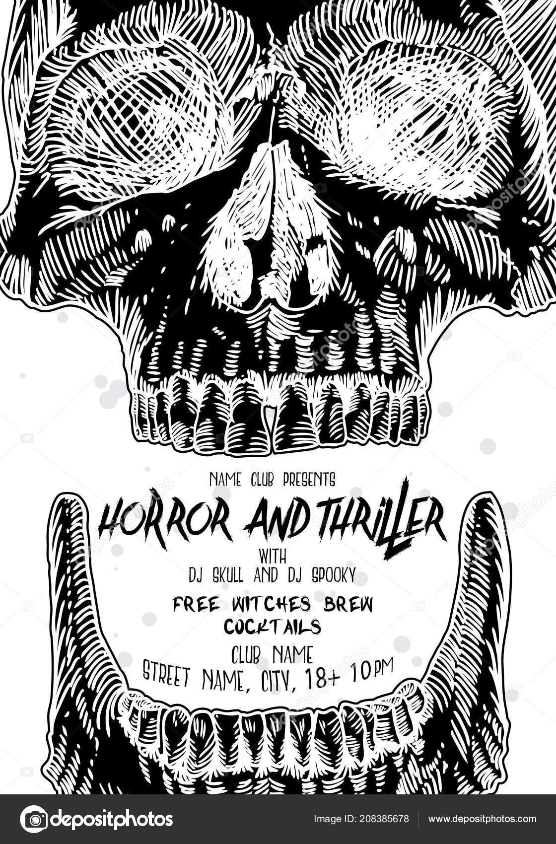 Stylish Black White Halloween Invitation Poster Card Skulls - Halloween Invitations Free Printable Black And White