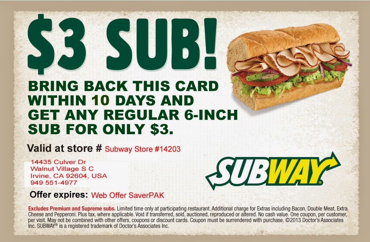 Subway January Deals / Childrens Place Coupon Printable - Free Printable Subway Coupons 2017