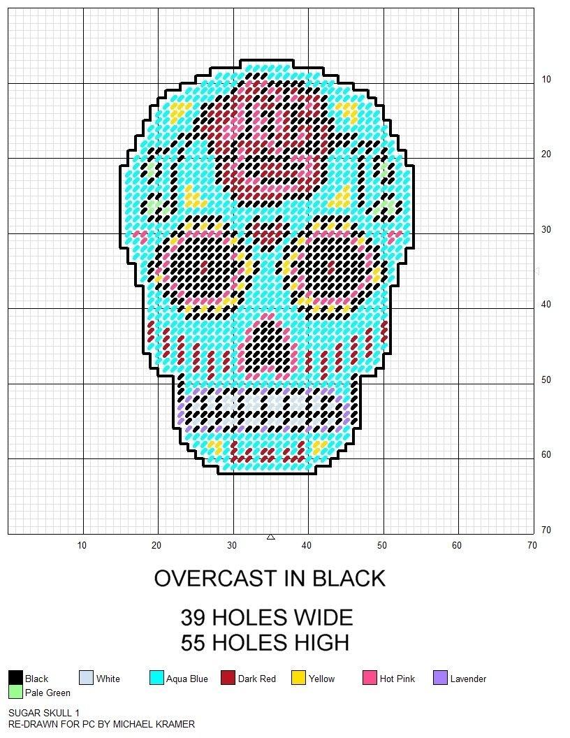 Sugar Skull Plastic Canvas Pattern | Various Plastic Canvas Patterns - Free Printable Plastic Canvas Patterns