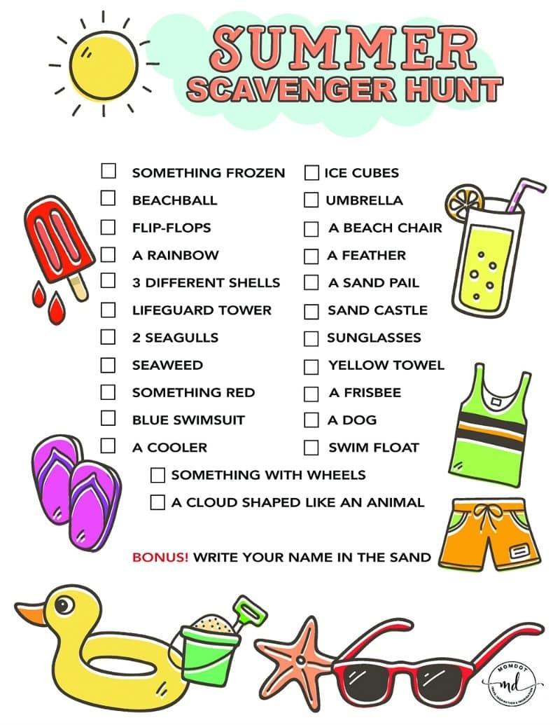 Summer Scavenger Hunt Free Printable For Kids - - Free Printable Scavenger Hunt For Kids
