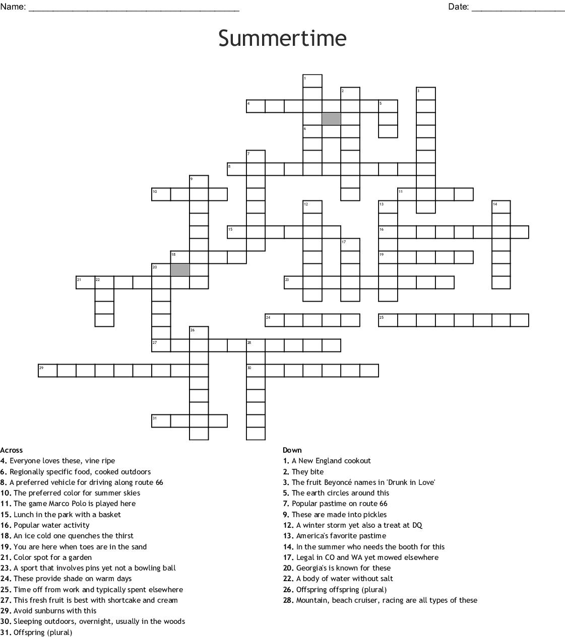 Summertime Crossword - Wordmint - Summer Crossword Puzzle Free Printable