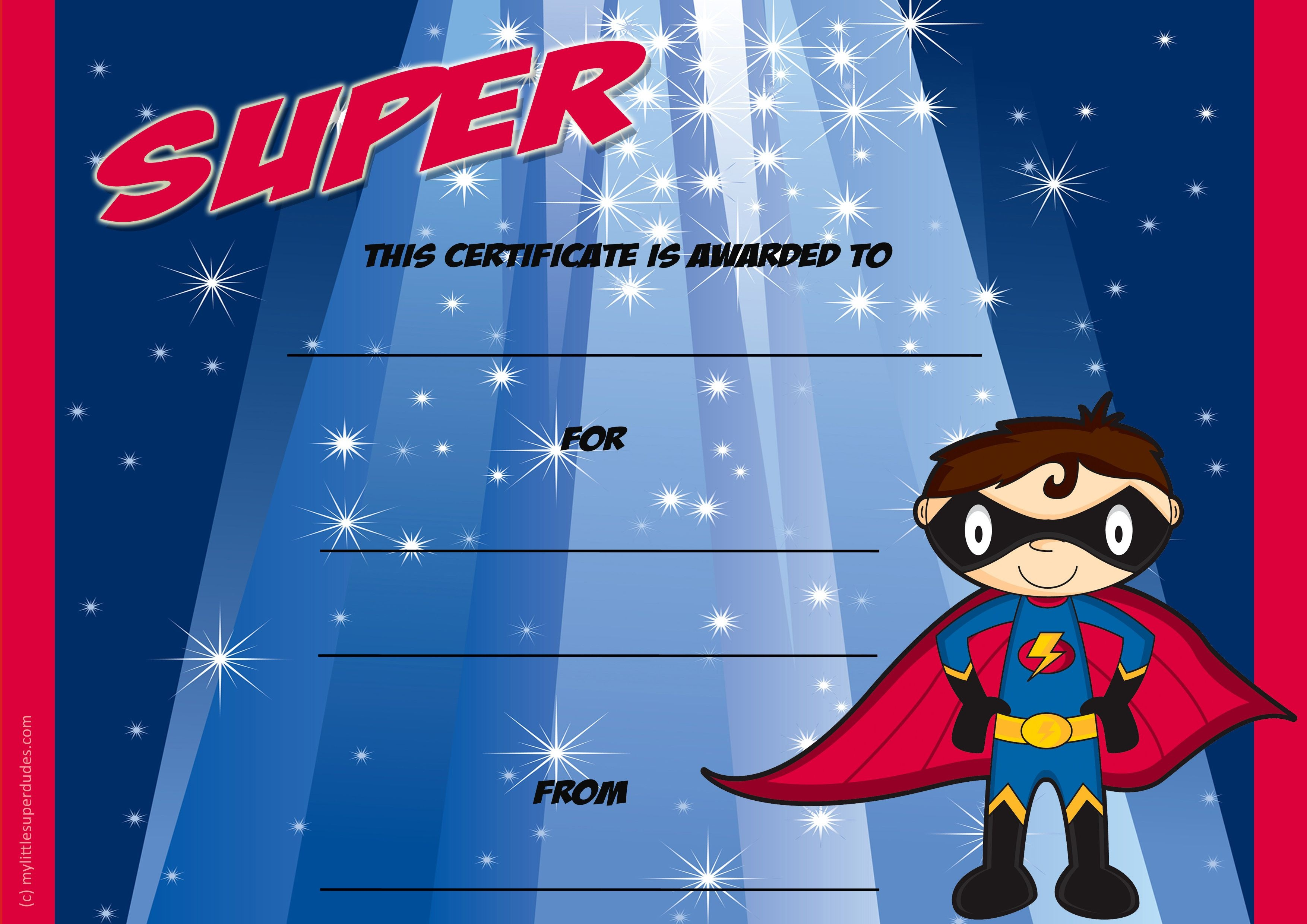 Super Certificate! A Blank Kids Certificate Template. Can Enter Your - Free Printable Superhero Certificates
