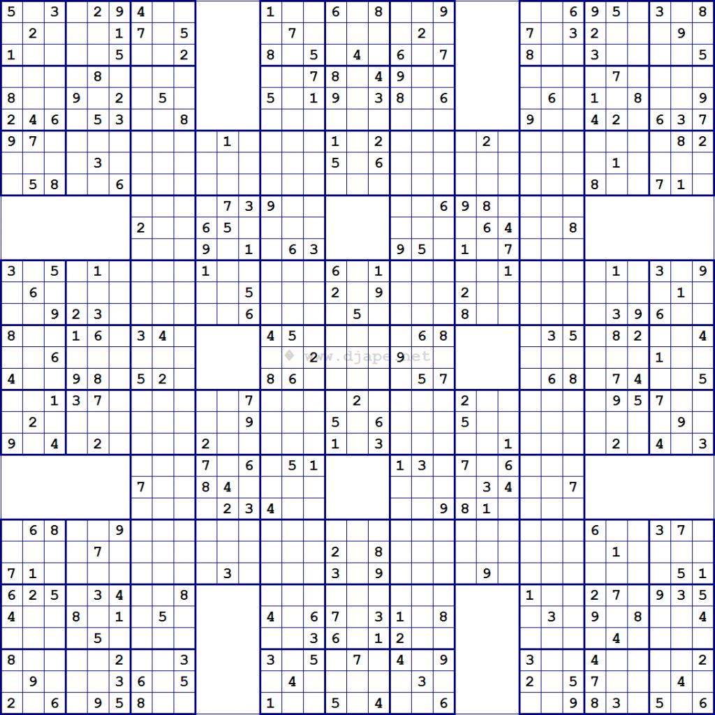 Super Samurai Sudoku 13 Grids   Printable Mega Sudoku Puzzles - Free Printable Samurai Sudoku