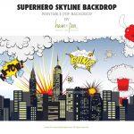 Superhero Skyline Explosion Backdrop Pdf File | Etsy   Free Printable Superhero Skyline