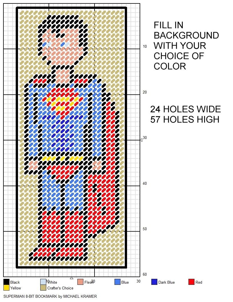 Superman 8-Bit Bookmark Plastic Canvas Patternmichael Kramer - Free Printable Plastic Canvas Patterns Bookmarks