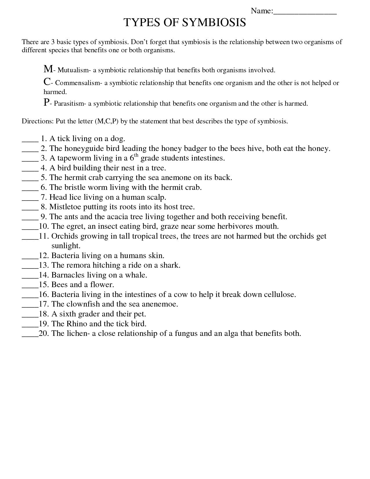 Symbiosis Worksheet: Free Printable Worksheets On High School Bio - Free Printable High School Worksheets