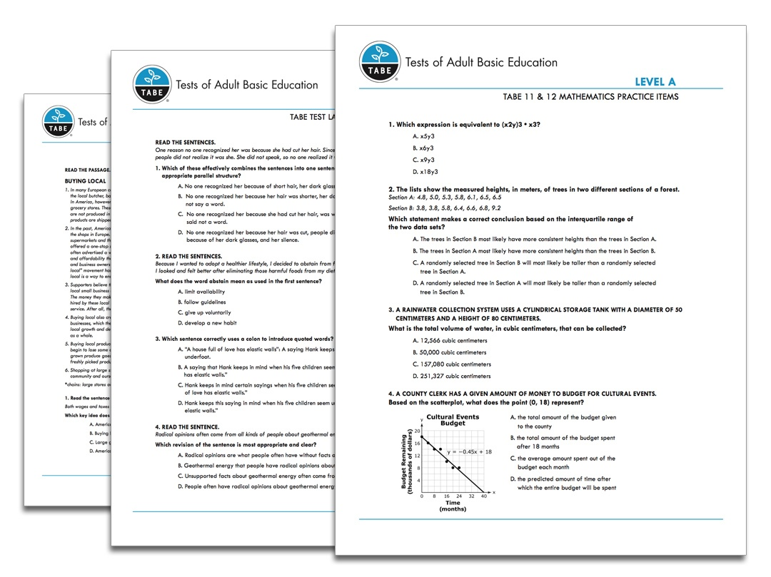 Tabe 11&12 Sample Practice Items | Tabetest | Tabetest - Ged Reading Practice Test Free Printable